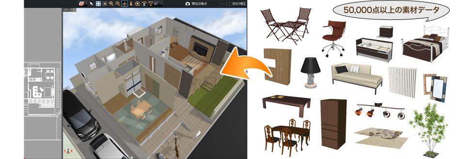 3Dデザイナーシリーズで使用できる住宅素材を50000点収録