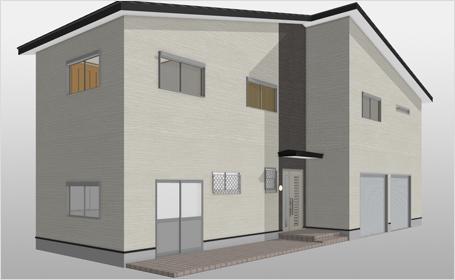 屋根の形状や外壁材のイメージ確認に役立つ外観パース