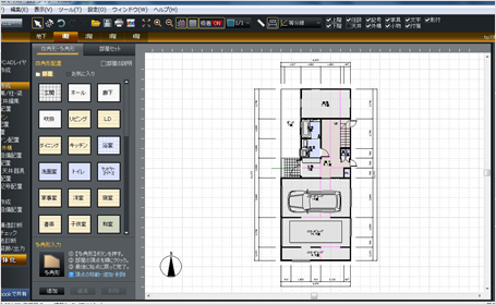 マイホームデザイナーで作成した間取り(1階)