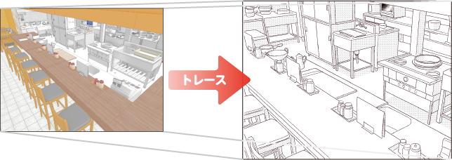 3Dの線画を下絵にしてコミック制作ソフトでトレース