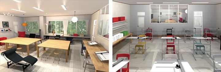 【実習室と製図室をガラス建具で仕切るというコンセプトを伝えるためのパース】
