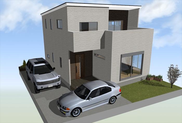 【3DマイホームデザイナーPROで作成した住宅プラン例のパース】