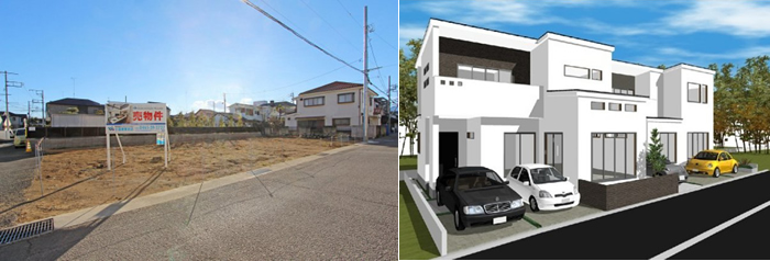 【土地写真に合わせた3Dパースを提示することで施主のイメージが膨らむ】