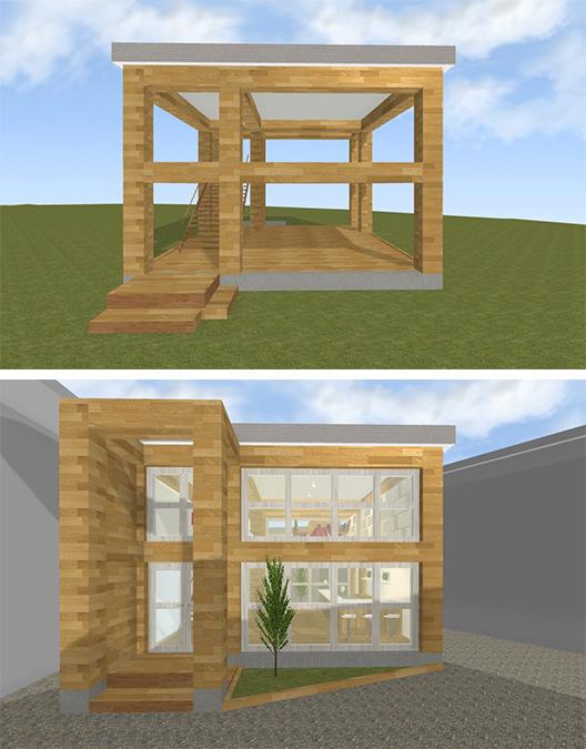 【木骨ビーコムを使った住宅デザインのスタディ例】
