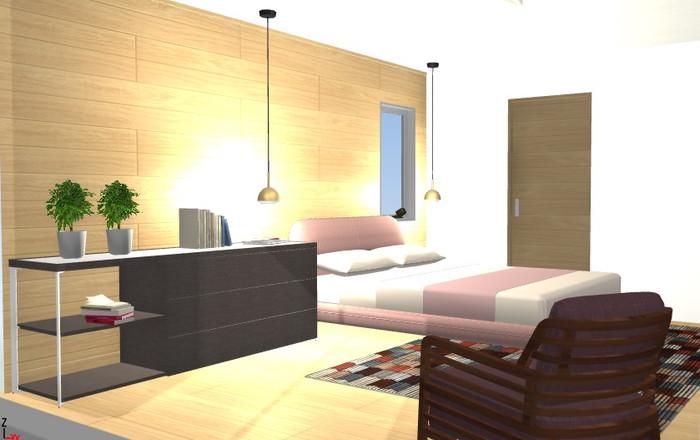 【3Dでは、主に壁や床の色合いと家具のマッチングを見てもらいます。】