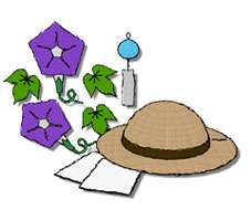 夏の無料イラスト素材 アサガオと麦わら帽子