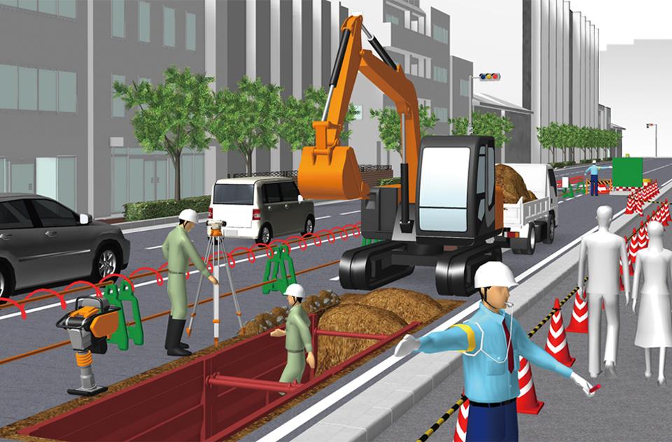 施工計画書に3d説明図を差し込み3d工事イラストワークス