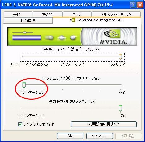 GeForce4プロパティダイアログ